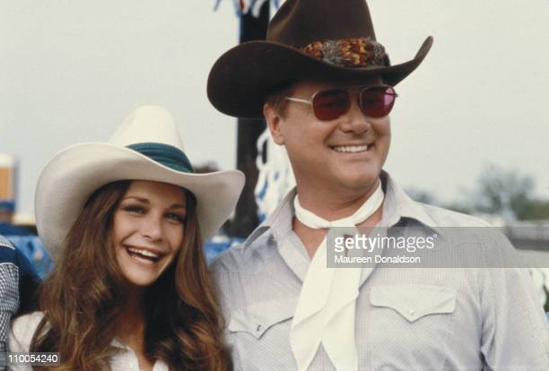 American actors Mary Crosby and Larry Hagman on the set of the television soap opera 'Dallas', 18th July 1979.