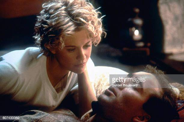 American actors Meg Ryan and Nicolas Cage on the set of City of Angels directed by Brad Silberling