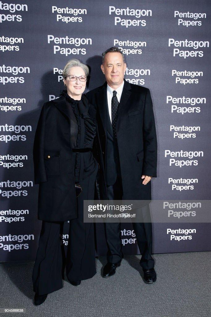 American Actors Meryl Streep and Tom Hanks attend the 'Pentagon Papers' Paris Premiere at Cinema UGC Normandie on January 13, 2018 in Paris, France.