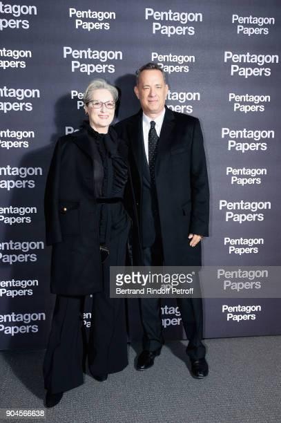 American Actors Meryl Streep and Tom Hanks attend the 'Pentagon Papers' Paris Premiere at Cinema UGC Normandie on January 13 2018 in Paris France