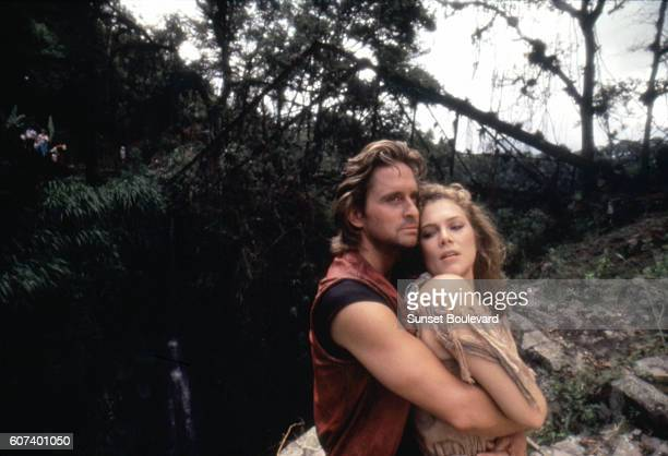 American actors Michael Douglas and Kathleen Turner on the set of Romancing the Stone directed by Robert Zemeckis