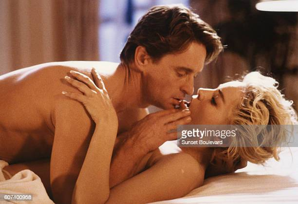 American actors Michael Douglas and Sharon Stone on the set of Basic Instinct directed by Dutch Paul Verhoeven