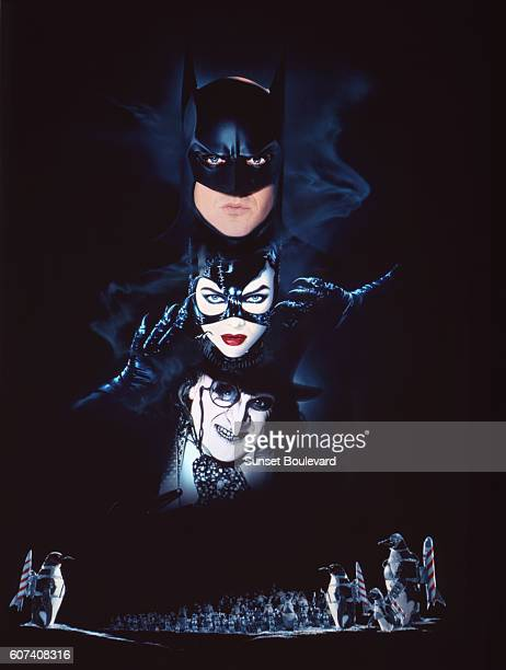 American actors Michael Keaton Michelle Pfeiffer and Danny DeVito on the set of Batman Returns directed by Tim Bruton