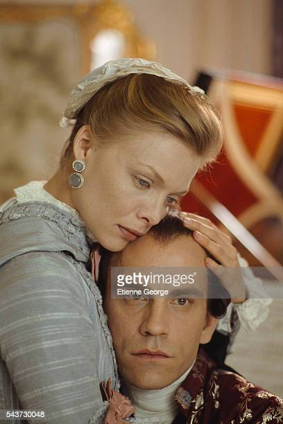 American actors Michelle Pfeiffer and John Malkovich on the set of the film Dangerous Liaisons directed by English director Stephen Frears and based...