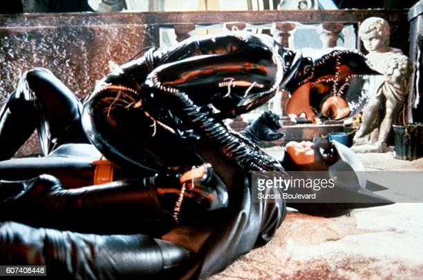 American actors Michelle Pfeiffer and Michael Keaton on the set of Batman Returns directed by Tim Bruton