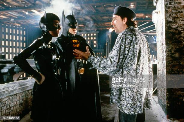American actors Michelle Pfeiffer and Michael Keaton with director Tim Burton on the set of his movie Batman Returns
