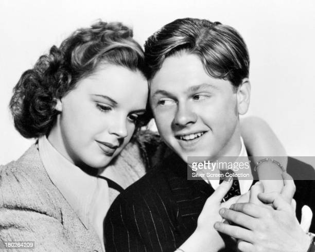 American actors Mickey Rooney and Judy Garland in a promotional portrait for 'Life Begins For Andy Hardy' directed by George B Seitz 1941