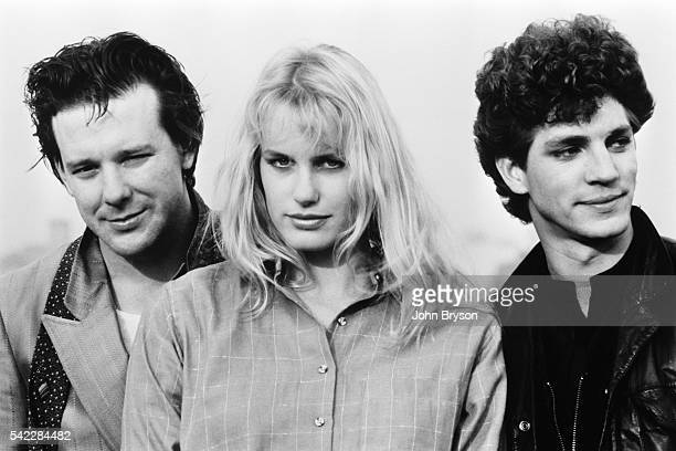 American actors Mickey Rourke Daryl Hannah and Eric Roberts on the set of The Pope of Greenwich Village directed by Stuart Rosenberg