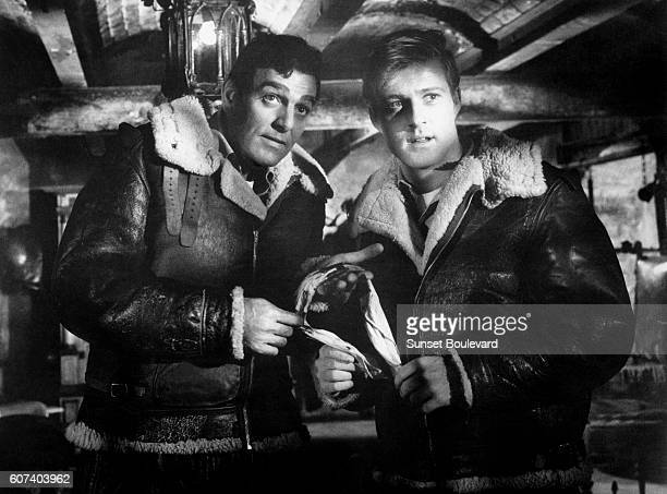 American actors Mike Connors and Robert Redford on the set of Situation Hopeless But Not Serious based on the novel by British Robert Shaw and...