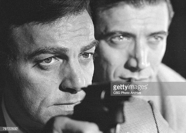 American actors Mike Connors as Joe Mannix and Joseph Campanella as Lee Wickersham in the television detective series 'Mannix' July 7 1967