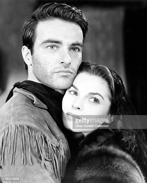 American actors Montgomery Clift and Joanne Dru in a promotional portrait for 'Red River' directed by Howard Hawks 1948