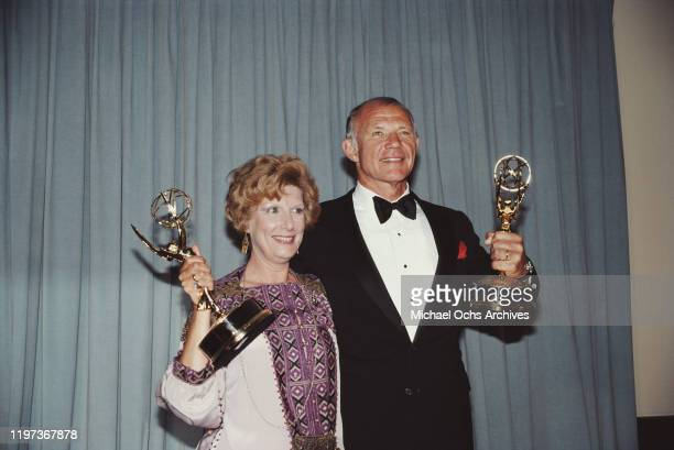 American actors Nancy Marchand and Michael Conrad with their awards at the 33rd Primetime Emmy awards in Pasadena California 13th September 1981...