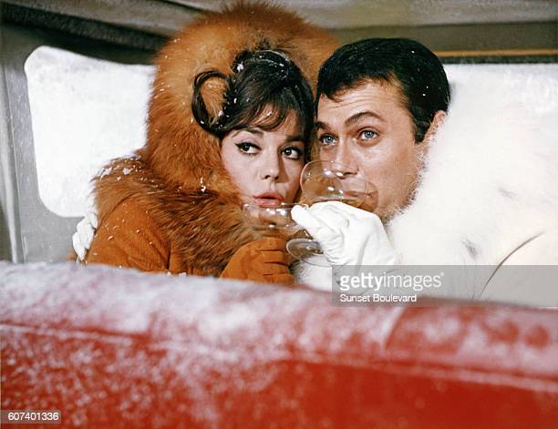 American actors Natalie Wood and Tony Curtis on the set of The Great Race written and directed by Blake Edwards