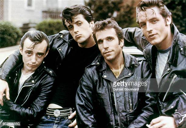 American actors Paul Mace Sylvester Stallone Henry Winkler and Perry King on the set The Lord's of Flatbush directed by Martin Davidson and Stephen...