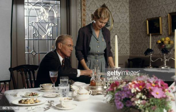American actors Paul Newman and Joanne Woodward on the set of the film Mr Mrs Bridge directed by James Ivory