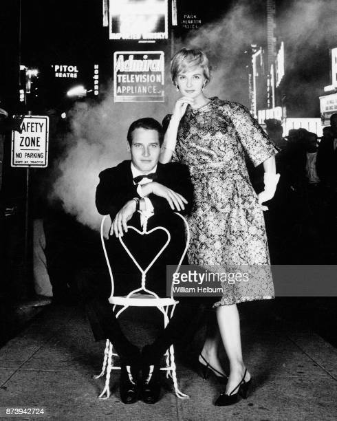 American actors Paul Newman and Joanne Woodward pose together in Times Square New York 1960 Shot for Town and Country Magazine