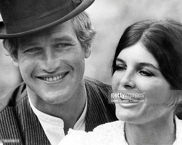 American actors Paul Newman as Butch Cassidy and Katharine Ross as Etta Place in a promotional still for 'Butch Cassidy And The Sundance Kid'...