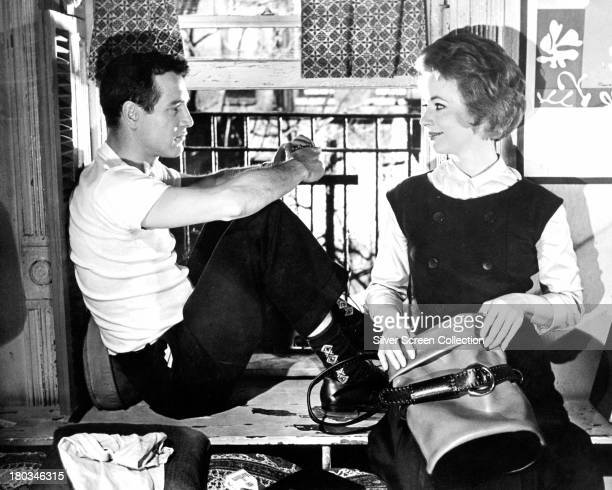 American actors Paul Newman as Eddie Felson and Piper Laurie as Sarah Packard in 'The Hustler' directed by Robert Rossen 1961