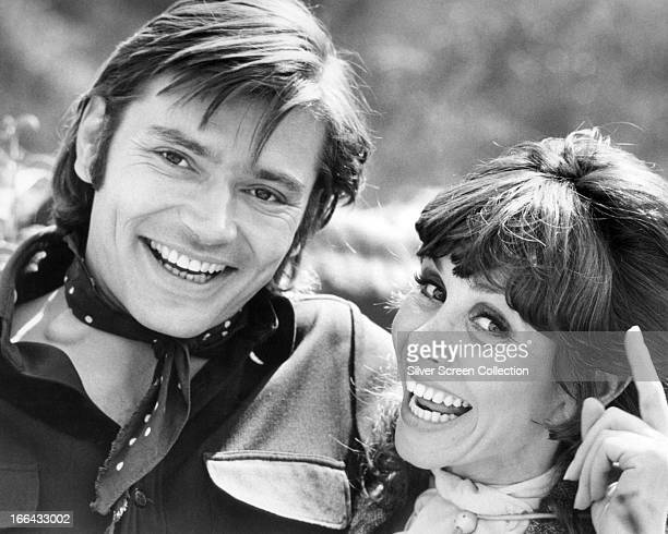 American actors Pete Duel and Susan Strasberg on the set of 'Exit from Wickenburg' an episode in the TV western series 'Alias Smith And Jones' circa...