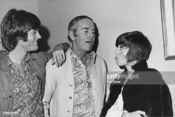 American actors Peter Fonda and Jane Fonda visiting their father Henry Fonda in his dressing room backstage at the ANTA Playhouse in New York City...