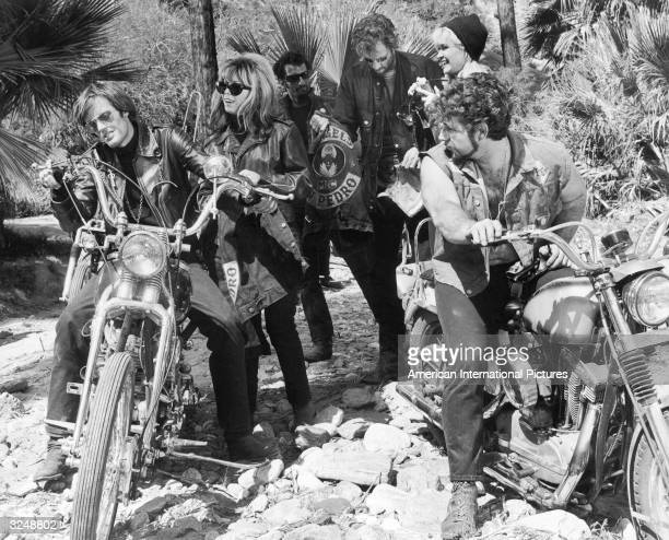 American actors Peter Fonda Nancy Sinatra and others in a still from the film 'The Wild Angels' directed by Roger Corman
