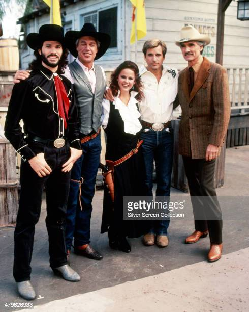American actors Peter Reckell Steve Kanaly Linda Blair Dirk Benedict and Dennis Weaver in a promotional portrait for the TV movie 'The Wildest West...