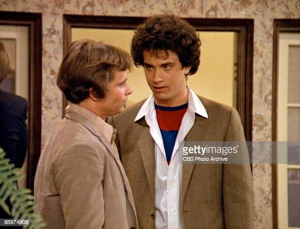 American actors Peter Scolari and Tom Hanks in a scene from the pilot episode of the television comedy series 'Bosom Buddies' Los Angeles California...