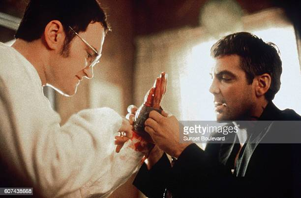 American actors Quentin Tarantino and George Clooney on the set of From Dusk Till Dawn directed and produced by Robert Rodriguez