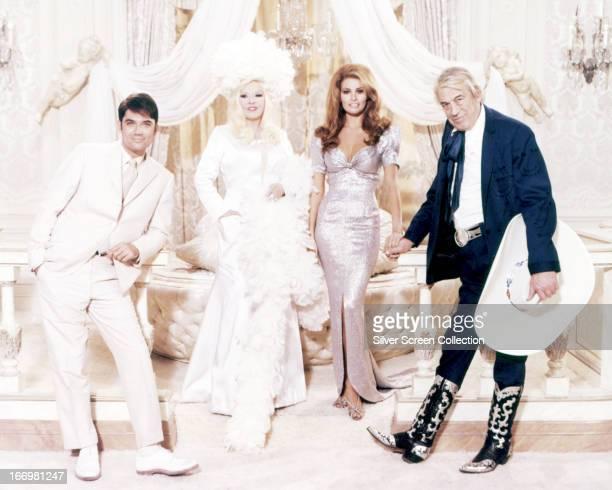 American actors Rex Reed as Myron Breckinridge Mae West as Leticia Van Allen Raquel Welch as Myra Breckinridge and John Huston as Buck Loner in a...