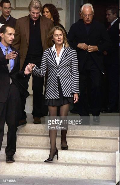 American actors Richard Gere Lauren Hutton and Italian designer Giorgio Armani attend the Giorgio Armani Retrospective at the Royal Academy posing...