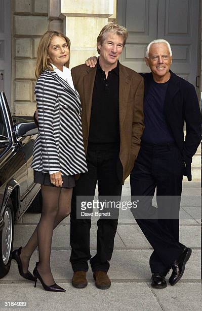 American actors Richard Gere Lauren Hutton and Italian designer Giorgio Armani attend the Giorgio Armani Retrospective at the Royal Academy posing...