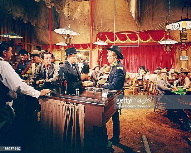 American actors Richard Widmark as Mike King and George Peppard as Zeb Rawlings in 'How The West Was Won' directed by Henry Hathaway 1962