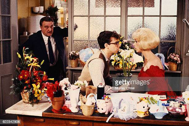 American actors Rick Moranis and Ellen Greene on the set of the film Little Shop of Horrors directed by Frank Oz