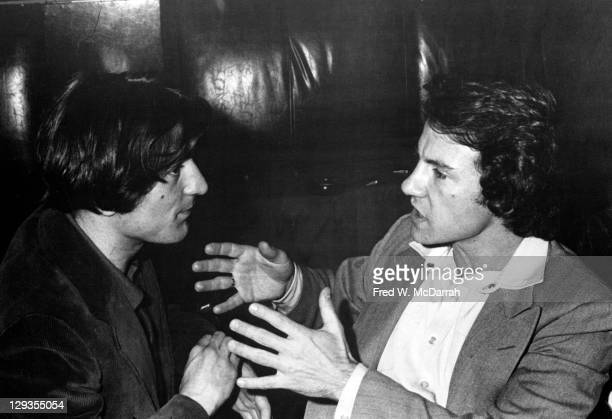 American actors Robert De Niro and Harvey Keitel talk together at the New York Film Critics Circle awards ceremony New York New York January 27 1974