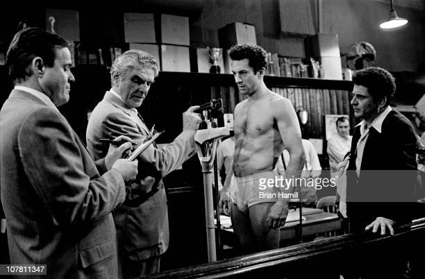 American actors Robert De Niro as boxer Jake La Motta and Joe Pesci as Joey La Motta in a scene from the Martin Scorsesedirected film 'Raging Bull'...