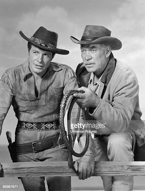 American actors Robert Horton and Ward Bond in a promotional portrait for the television series 'Wagon Train' circa 1959
