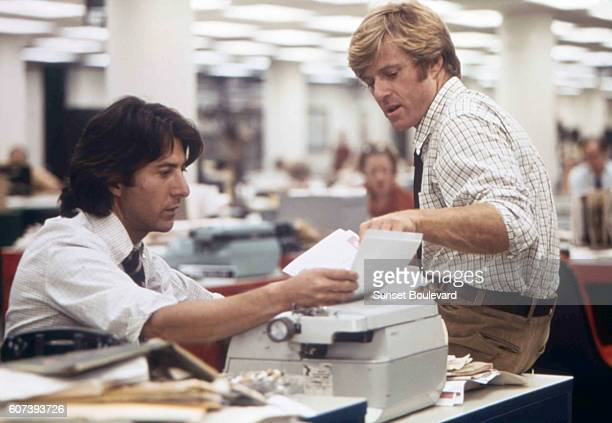 American actors Robert Redford and Dustin Hoffman on the set of All The President's Men based on the book by Carl Bernstein and directed by Alan J...