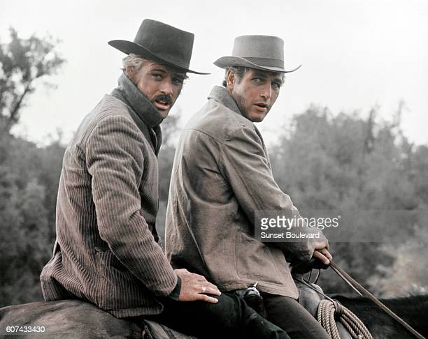 American actors Robert Redford and Paul Newman on the set of Butch Cassidy and the Sundance Kid directed by George Roy Hill
