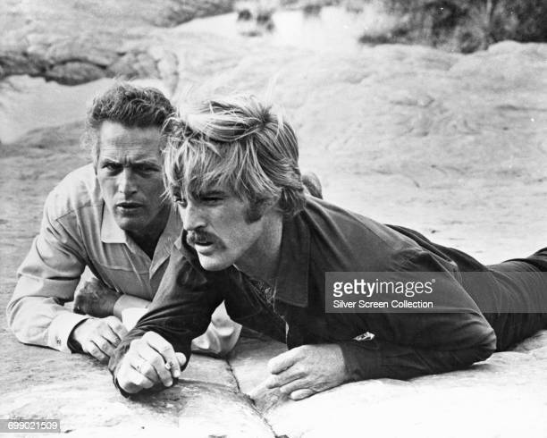 American actors Robert Redford as The Sundance Kid and Paul Newman as Butch Cassidy in 'Butch Cassidy and the Sundance Kid' directed by George Roy...