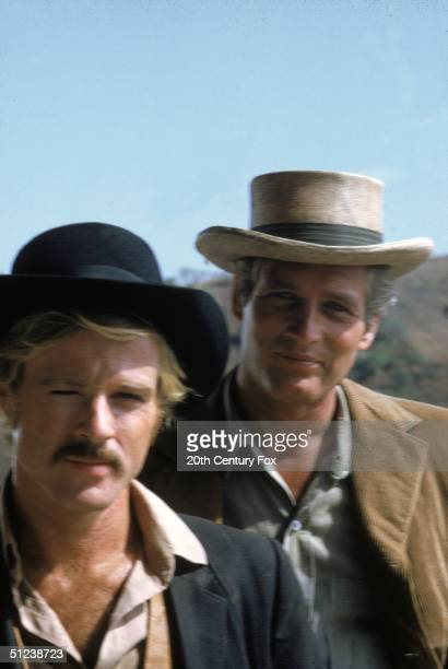 1969 American actors Robert Redford left and Paul Newman in a still from the film 'Butch Cassidy and The Sundance Kid' directed by George Roy Hill