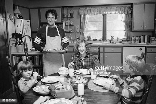 American actors Robin Williams and Mary Beth Hurt on the set of The World According to Garp based on the novel by John Irving and directed by George...