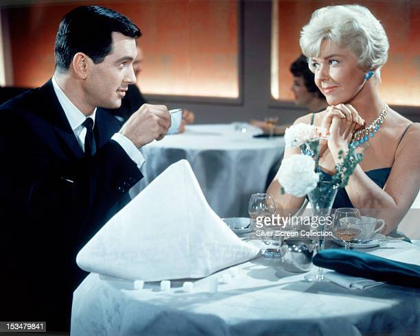 American actors Rock Hudson as Brad Allen and Doris Day as Jan Morrow in 'Pillow Talk' 1959