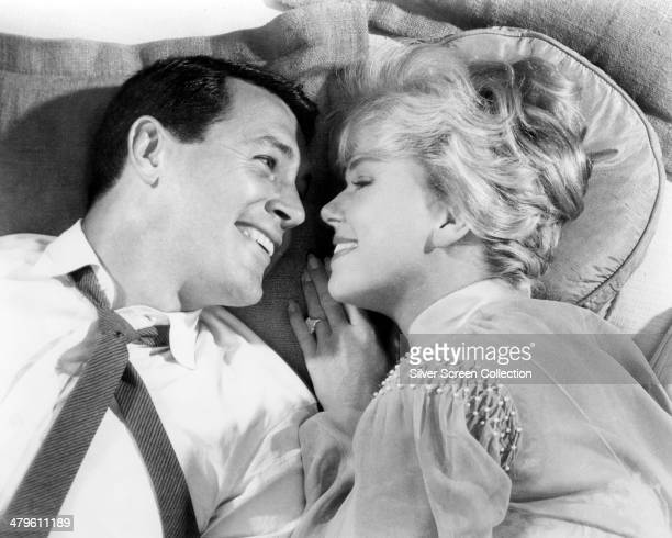 American actors Rock Hudson as Brad Allen and Doris Day as Jan Morrow in 'Pillow Talk' directed by Michael Gordon 1959