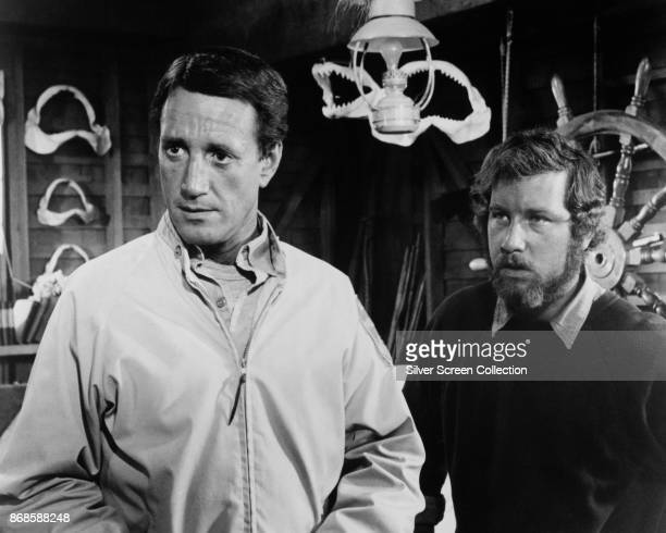 American actors Roy Scheider and Richard Dreyfuss in a scene from 'Jaws' 1975