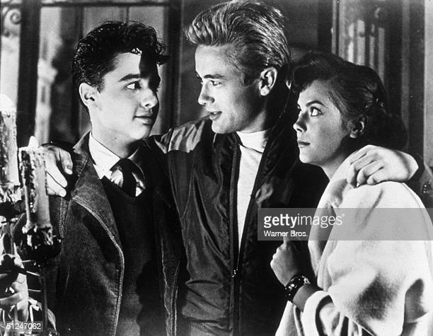 1955 American actors Sal Mineo James Dean and Natalie Wood in a still from director Nicholas Ray's film 'Rebel Without a Cause'