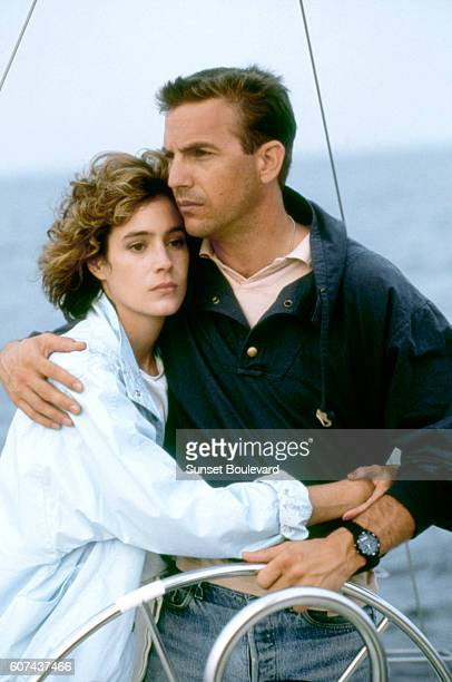 American actors Sean Young and Kevin Costner on the set of No Way Out, based on the novel by Kenneth Fearing, and directed by Roger Donaldson.