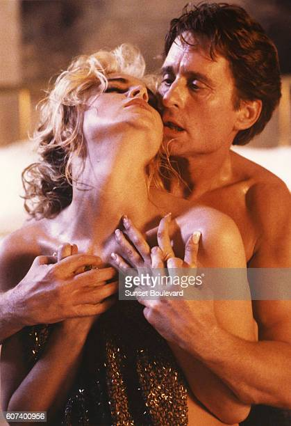 American actors Sharon Stone and Michael Douglas on the set of Basic Instinct directed by Dutch Paul Verhoeven