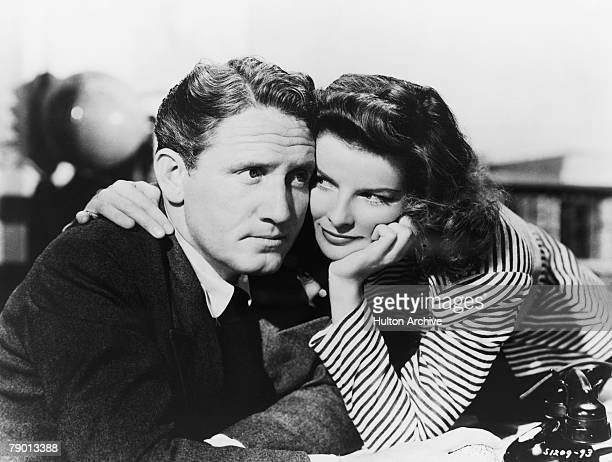 American actors Spencer Tracy as Sam Craig and Katharine Hepburn as Tess Harding in a scene from 'Woman Of The Year' their first film together...