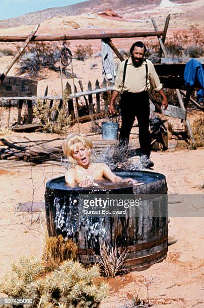 American actors Stella Stevens and Jason Robards on the set of The Ballad of Cable Hogue directed by Sam Peckinpah