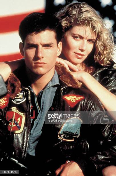 American actors Tom Cruise and Kelly McGillis on the set of Top Gun directed by Tony Scott